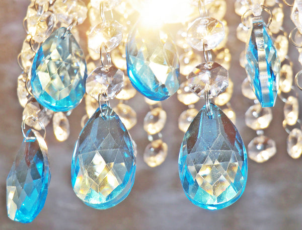 20 Antique Teal Chandelier Drops Crystals Beads Droplets Cut Glass Light Parts Prisms 7