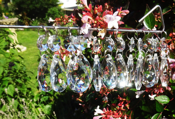 12 Clear Oval 37mm Chandelier Crystals Drops Beads Droplets Garden Window Decorations
