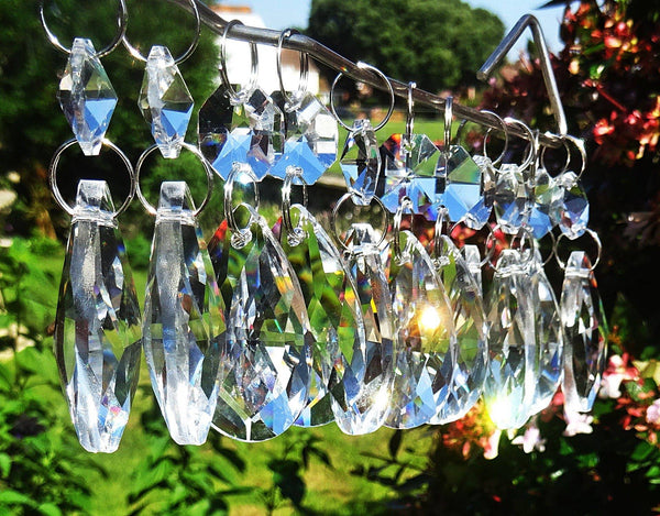 "Clear Cut Glass Oval 37 mm 1.5"" Chandelier Crystals Drops Beads Droplets Transparent"