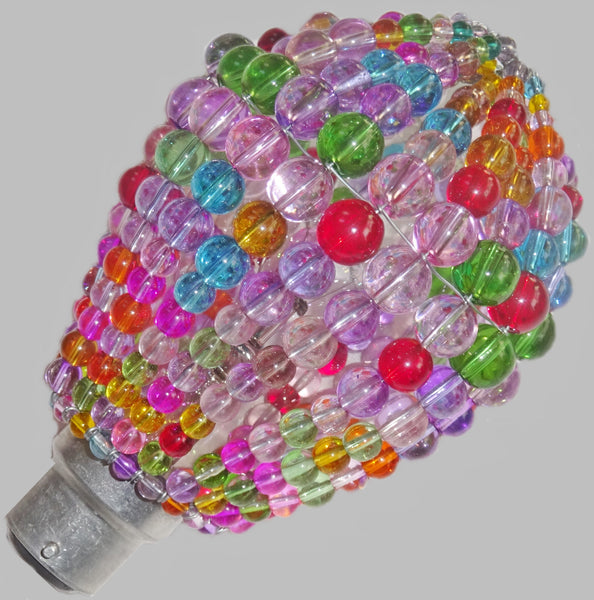 Chandelier Bead Light Bulb GLS Multi Pastel Colour Glass Cover Sleeve Lampshade Alternative Beaded 2