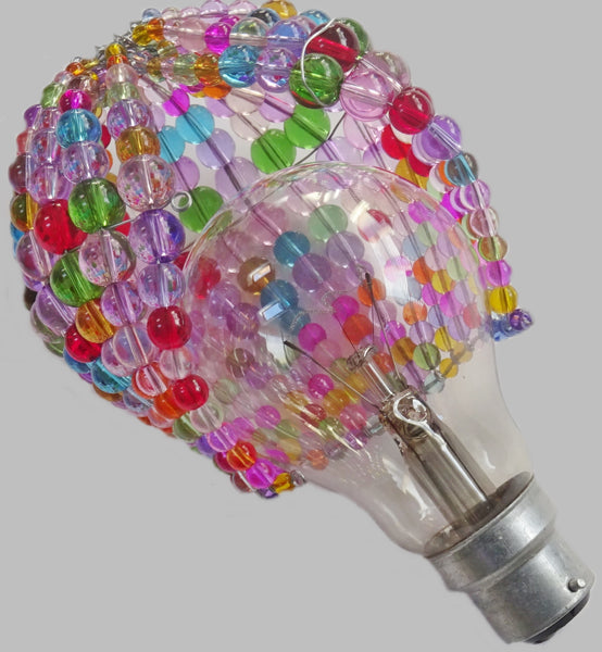Chandelier Bead Light Bulb GLS Multi Pastel Colour Glass Cover Sleeve Lampshade Alternative Beaded 3