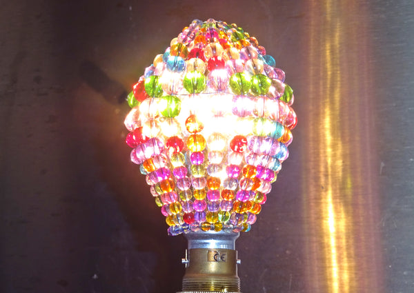 Chandelier Bead Light Bulb GLS Multi Pastel Colour Glass Cover Sleeve Lampshade Alternative Beaded 9