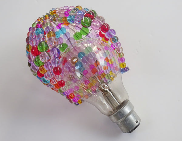 Chandelier Bead Light Bulb GLS Multi Pastel Colour Glass Cover Sleeve Lampshade Alternative Beaded 10