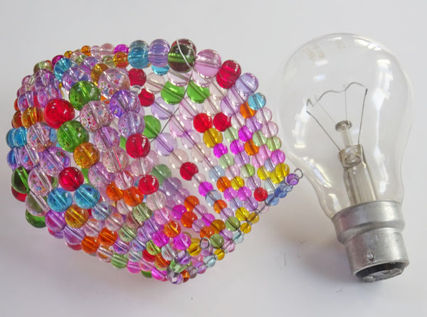 Chandelier Bead Light Bulb GLS Multi Pastel Colour Glass Cover Sleeve Lampshade Alternative Beaded 11