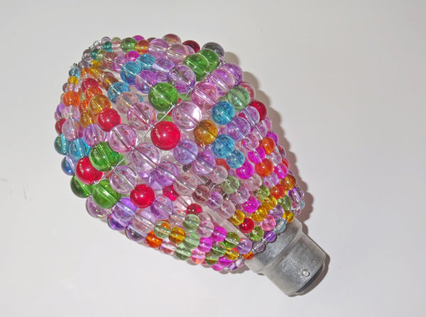 Chandelier Bead Light Bulb GLS Multi Pastel Colour Glass Cover Sleeve Lampshade Alternative Beaded 4