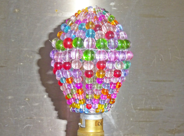 Chandelier Bead Light Bulb GLS Multi Pastel Colour Glass Cover Sleeve Lampshade Alternative Beaded 5