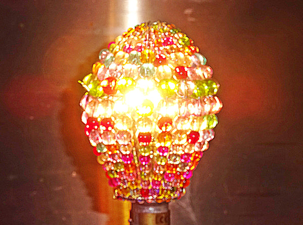 Chandelier Bead Light Bulb GLS Multi Pastel Colour Glass Cover Sleeve Lampshade Alternative Beaded 6