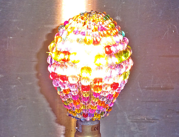 Chandelier Bead Light Bulb GLS Multi Pastel Colour Glass Cover Sleeve Lampshade Alternative Beaded 7