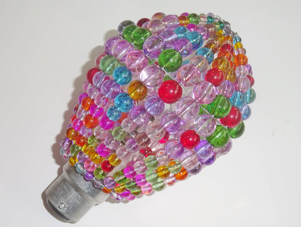Chandelier Bead Light Bulb GLS Multi Pastel Colour Glass Cover Sleeve Lampshade Alternative Beaded 8