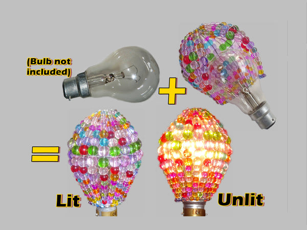 Chandelier Bead Light Bulb GLS Multi Pastel Colour Glass Cover Sleeve Lampshade Alternative Beaded