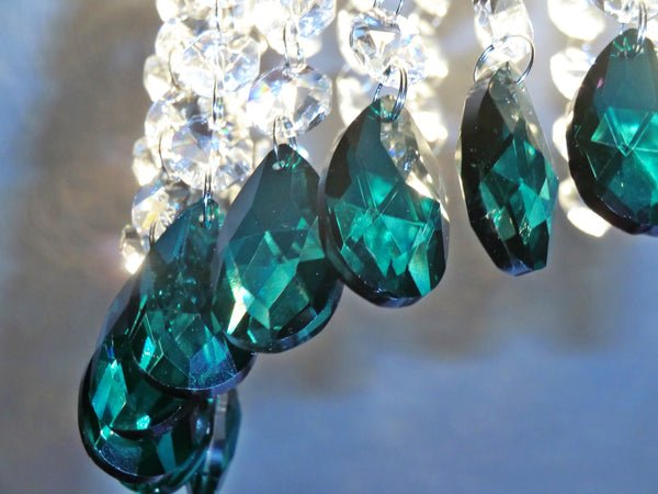 "12 Peacock Green Oval 37 mm 1.5"" Chandelier Crystals Drops Beads Droplets Christmas Decorations"