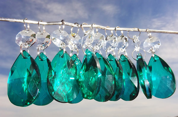 "Peacock Green Cut Glass Oval 37 mm 1.5"" Chandelier Crystals Drops Beads Droplets Light Part 6"