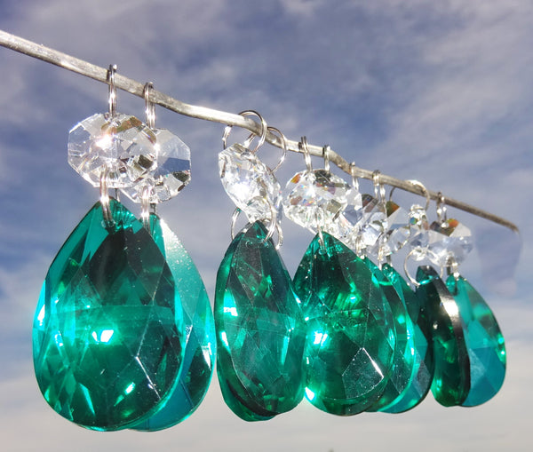 "Peacock Green Cut Glass Oval 37 mm 1.5"" Chandelier Crystals Drops Beads Droplets Light Part 8"