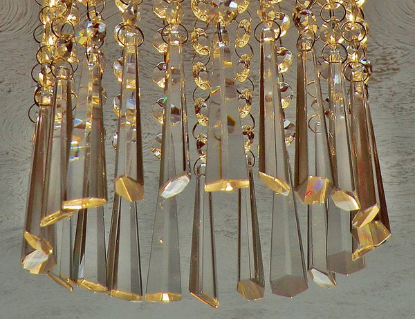 "Clear Cut Glass Icicles 72 mm 3"" Chandelier Crystals Drops Beads Droplets Transparent"