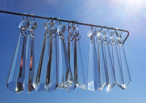 "12 Clear Icicles 72mm 3"" Chandelier Crystals Drops Beads Droplets Garden Window Decorations 1"