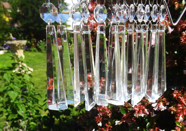"Clear Cut Glass Icicles 72 mm 3"" Chandelier Crystals Drops Beads Droplets Transparent 13"