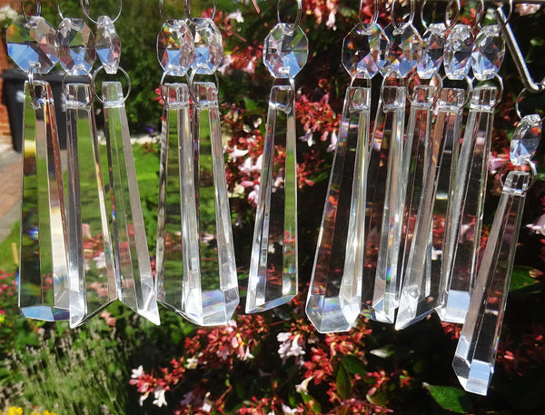 "Clear Cut Glass Icicles 72 mm 3"" Chandelier Crystals Drops Beads Droplets Transparent 14"