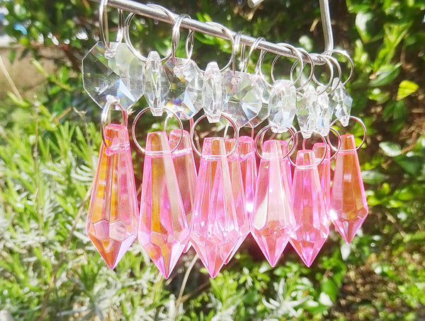 "Rose Pink Cut Glass Torpedo 37 mm 1.5"" Chandelier Crystals Drops Beads Droplets Light Parts 7"