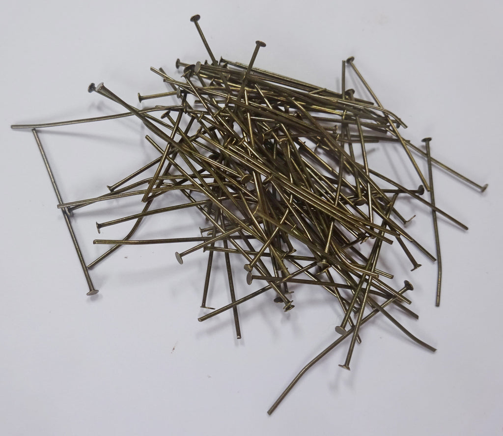 100 x 38mm 1.5 inch Headed Pins in Antique Brass for Chandelier Links for Glass Droplets Crystals Beads Drops 1