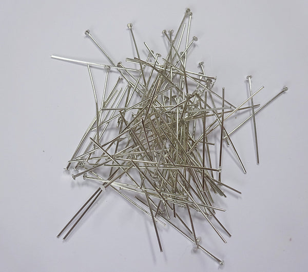 100 x 38mm 1.5 inch Headed Pins in Chrome Silver for Chandelier Links for Glass Droplets Crystals Beads Drops 1