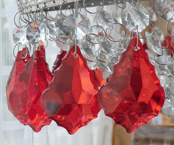 24 Chandelier Drops Mix 6 Designs Colours Cut Glass Crystals Beads Prisms Droplets Lamp Light Parts 9