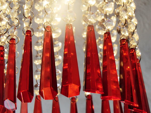 "Red Cut Glass Icicles 72 mm 3"" Chandelier Crystals Drops Beads Droplets Light Lamp Parts 11"