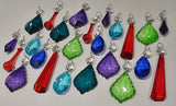 24 Chandelier Drops Mix Colour Crystals Beads Prisms Droplets 7