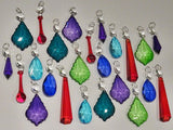 24 Chandelier Drops Mix 8 Designs Colours Cut Glass Crystals Beads Prisms Hanging Pendant Droplets 6