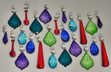 24 Chandelier Drops Mix 8 Designs Colours Cut Glass Crystals Beads Prisms Hanging Pendant Droplets 3