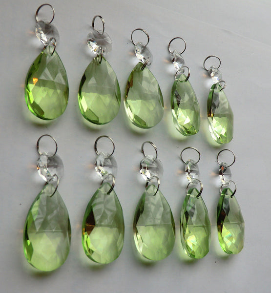 "Sage Green Cut Glass Oval 37 mm 1.5"" Chandelier Crystals Drops Beads Droplets 11"
