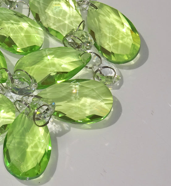 "Sage Green Cut Glass Oval 37 mm 1.5"" Chandelier Crystals Drops Beads Droplets 9"