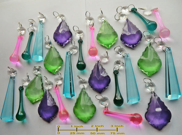 25 Chandelier Drops Summer Colour Light Cut Glass Crystals Prisms Droplets Hanging Pendants Beads 4