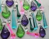 25 Chandelier Drops Cool Colour Crystals Beads Prisms Mix 8