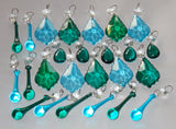 25 Peacock & Teal Chandelier Drops Crystals Beads Droplets Cut Glass Prisms Mix Bundle 1