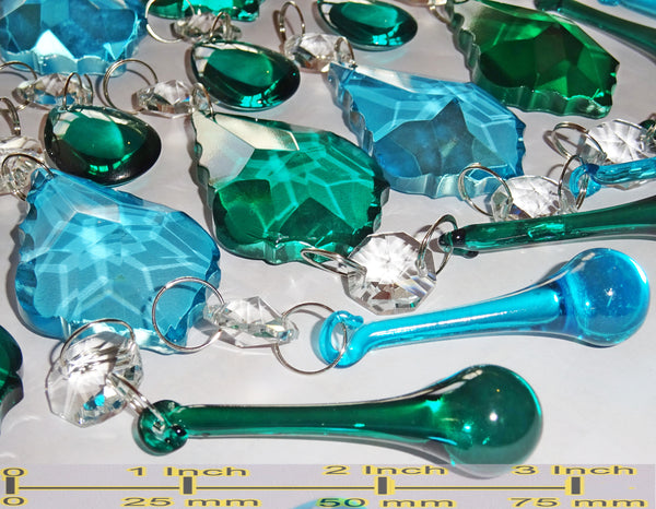 25 Peacock & Teal Chandelier Drops Crystals Beads Droplets Cut Glass Prisms Mix Bundle 3