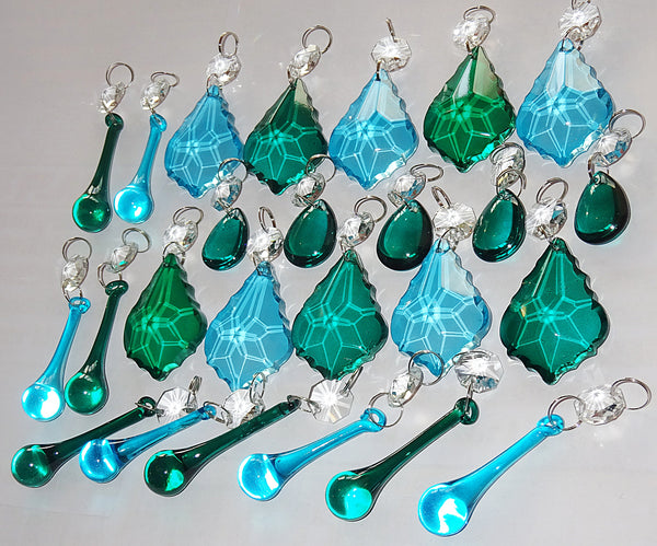 25 Peacock & Teal Chandelier Drops Crystals Beads Droplets Cut Glass Prisms Mix Bundle 6