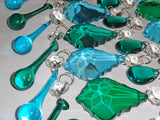 25 Peacock & Teal Chandelier Drops Crystals Beads Droplets Cut Glass Prisms Mix Bundle 8