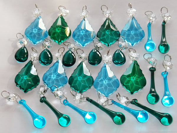 25 Peacock & Teal Chandelier Drops Crystals Beads Droplets Cut Glass Prisms Mix Bundle 5