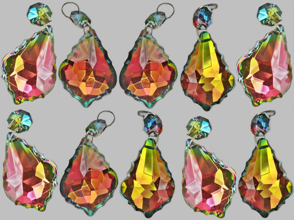 Vitrail AB Iridescent Silver Back Cut Glass Leaf 50 mm / 2 inch Chandelier Crystals Drops Pendalogue Beads Droplets Prisms 10