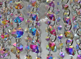 100 Vintage Look Aurora Borealis AB Chandelier Drops Parts Machine Cut Glass Crystals Shabby Droplets Upcycle Beads Charms Christmas Tree Wedding Decorations Bundle 2m Garland Feng Shui Sun Catchers 2