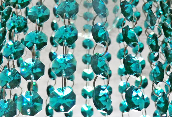 14mm Octagon Peacock Green Chandelier Drops Cut Glass Crystals Garlands Beads Droplets 2