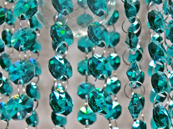 14mm Octagon Peacock Green Chandelier Drops Cut Glass Crystals Garlands Beads Droplets 7