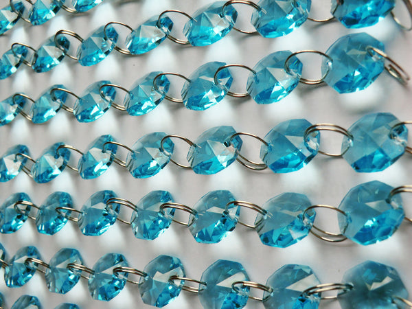 14mm Octagon Aqua Teal Blue Turquoise Chandelier Drops Cut Glass Crystals Garlands Beads Droplets 4