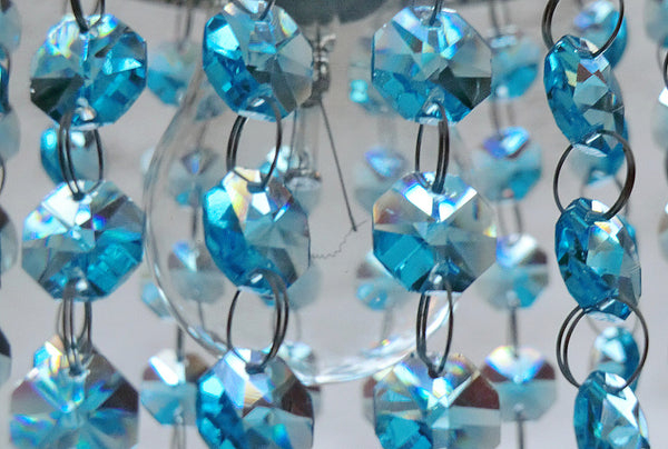 14mm Octagon Aqua Teal Blue Turquoise Chandelier Drops Cut Glass Crystals Garlands Beads Droplets 3