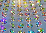 100 Vintage Look Vitrail Gothic Rainbow AB Chandelier Drops Parts Machine Cut Glass Crystals Shabby Droplets Upcycle Beads Charms Christmas Tree Wedding Decorations Bundle 2m Garland Feng Shui Sun Catchers 3