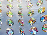 100 Vintage Look Vitrail Gothic Rainbow AB Chandelier Drops Parts Machine Cut Glass Crystals Shabby Droplets Upcycle Beads Charms Christmas Tree Wedding Decorations Bundle 2m Garland Feng Shui Sun Catchers 4