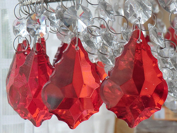 "12 Red Leaf 50 mm 2"" Chandelier Crystals Drops Beads Droplets Christmas Wedding Decorations 5"