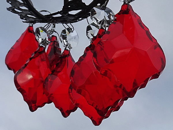"12 Red Leaf 50 mm 2"" Chandelier Crystals Drops Beads Droplets Christmas Wedding Decorations 9"