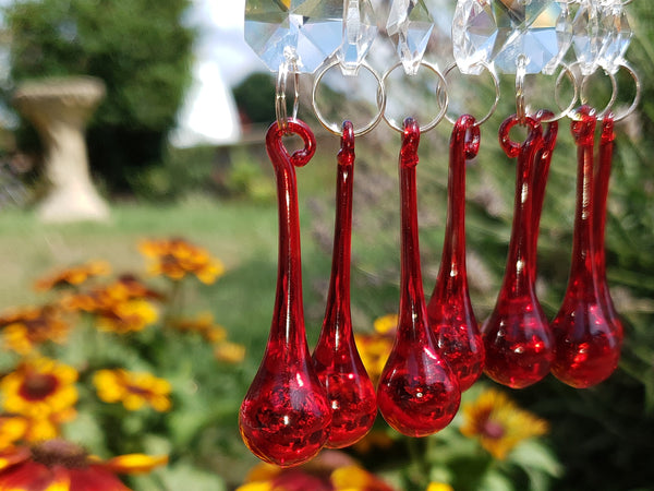 "Red Glass Orbs 53 mm 2"" Chandelier Crystals Droplets Beads Drops Lamp Light Parts 1"