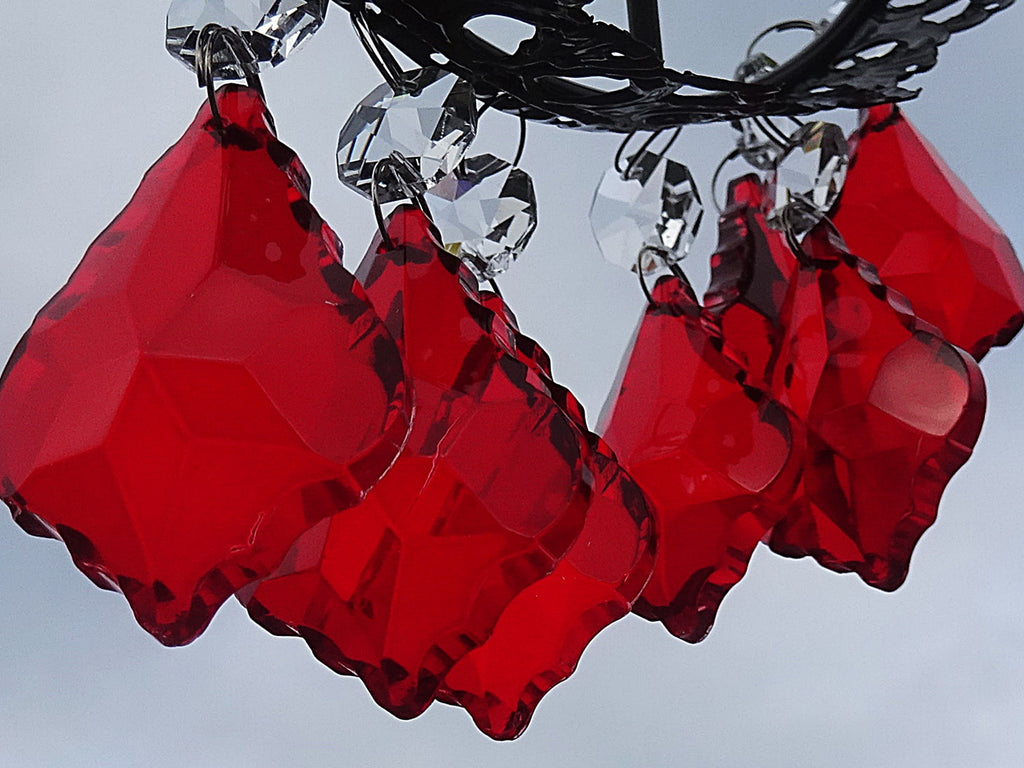 "12 Red Leaf 50 mm 2"" Chandelier Crystals Drops Beads Droplets Christmas Wedding Decorations 1"